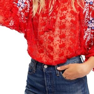FREE PEOPLE Jubilee Mesh Embroidered Blouse Small